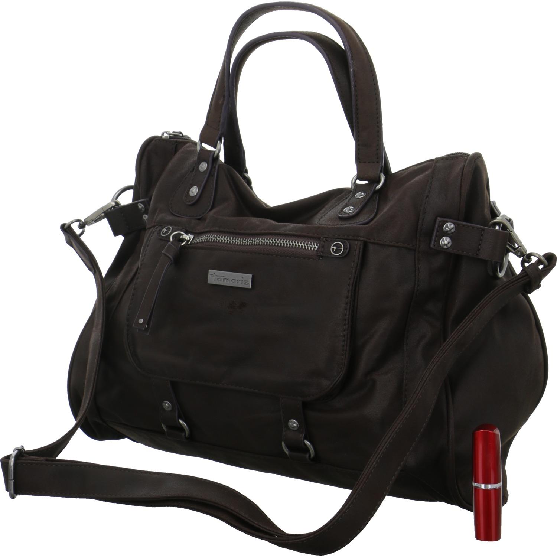 1637e54ac05f4 Das Bild wird geladen Tamaris-Damen-Handtasche-Ulla-Bowling-Bag -Braun-Schultertasche-