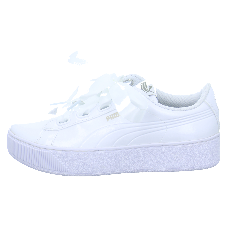Puma Damen Schuhe Sneaker Low Lack Weiß Vikky Platform Ribbon P Sport Freizeit